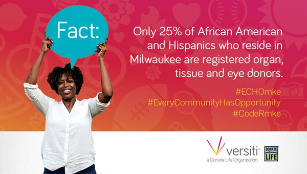 Only 25%25 of African Americans and Hispanics who reside in Milwaukee are registered organ, tissue and eye donors.