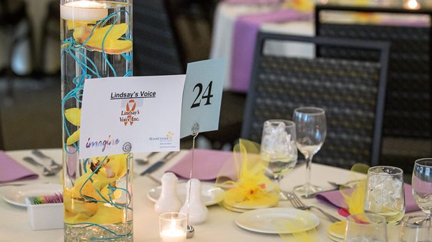 Lindsays Voice Card on Table at Imagine Gala